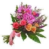 Floral bouquet of roses, lilies and orchids isolated on white ba. Ckground. Closeup Royalty Free Stock Images