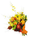 Floral bouquet of roses, lilies and orchids isolated on white ba. Ckground. Closeup Stock Images