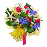 Floral bouquet of roses, lilies and orchids isolated on white ba. Ckground. Closeup Royalty Free Stock Photo