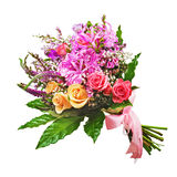 Floral bouquet of roses, lilies and orchids isolated on white ba. Ckground. Closeup Stock Photography