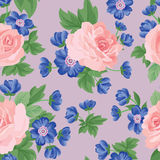 Floral bouquet seamless pattern. Flower posy background. Stock Photo