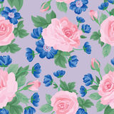 Floral bouquet seamless pattern. Flower rose background. Stock Image