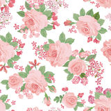 Floral bouquet seamless pattern. Flower rose background. Stock Photo