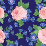 Floral bouquet seamless pattern. Flower rose background. Royalty Free Stock Image