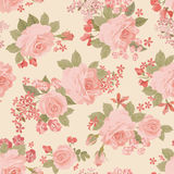 Floral bouquet seamless pattern. Flower rose garden background. Stock Photography