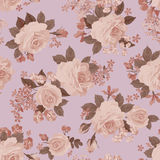 Floral bouquet seamless pattern. Flower rose retro background. Stock Photo