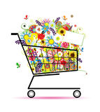 Floral bouquet in shopping cart for your design Stock Photography