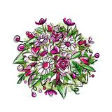 Floral bouquet, sketch for your design Royalty Free Stock Photos