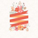 Floral bouquet with stripe for text Stock Photography