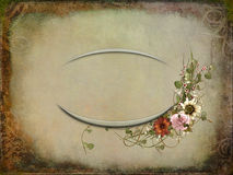 Floral bouquet with vintage embossed oval frame Stock Images