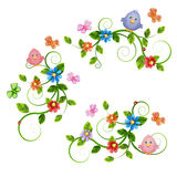 Floral bouquets with birds and butterflies. Stock Image