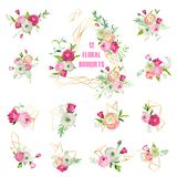 Floral Bouquets Set for Holidays Decoration. Pink Flowers Wreathes with Geometric Elements for Wedding Invitation Stock Image