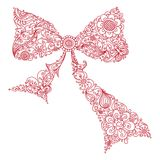 Floral bow. Red bow of floral pattern. Doodles linear illustration isolated on a white background Stock Photos