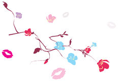 Floral branches and traces of kisses Royalty Free Stock Photo