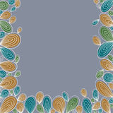 Floral bright hand drawn curly framing on grey background with w Stock Photography