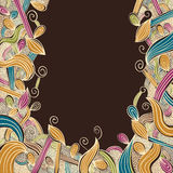 Floral bright hand drawn framing with curls on brown background, Royalty Free Stock Photos