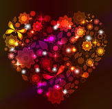 Floral bright Heart. Valentine background Stock Image