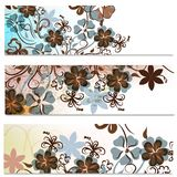 Floral brochures set with abstract flowers Stock Photos