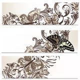 Floral brochures set with butterflies Royalty Free Stock Images