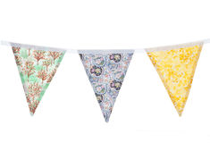 Floral bunting. Vintage floral bunting studio cutout Stock Image