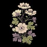 Floral bush retro on black background , hand drawn decorat Stock Photos