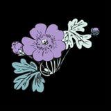 Floral bush retro on black background , hand drawn decorat Stock Photo