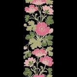 Floral bush retro on black background , hand drawn decorat Royalty Free Stock Photography