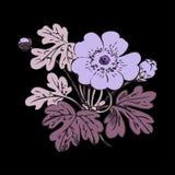 Floral bush retro on black background , hand drawn decorat Stock Photography