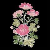 Floral bush retro on black background , hand drawn decorat Royalty Free Stock Photo