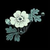 Floral bush retro on black background , hand drawn decorat Stock Images