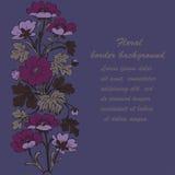 Floral bush retro on purple background , hand drawn decora Royalty Free Stock Image