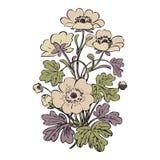Floral bush retro on white background , hand drawn decorat Stock Photography