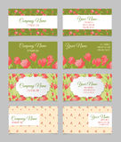 Floral business card set. Four double-sided templates with red peonies Royalty Free Stock Images