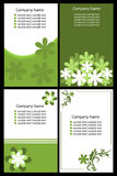 Floral business cards - green. Set of four floral business card in green tone isolated on black background.EPS file available Stock Image