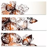Floral business cards set with butterflies and  flowers  for des Stock Photography
