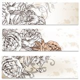 Floral business cards set with roses flowers  for design Royalty Free Stock Photos