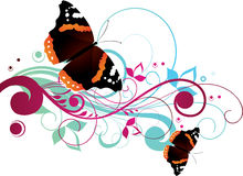 Floral Butterflies Background. An abstract illustrated background with a floral design of butterflies Stock Photos