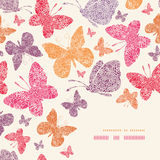Floral butterflies corner decor pattern background Royalty Free Stock Image