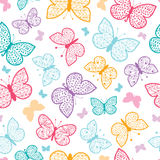 Floral butterflies vector seamless pattern Stock Images