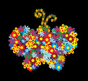 Floral butterfly. Vector floral butterfly on black background Royalty Free Stock Image