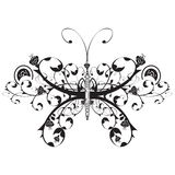 Floral butterfly. The butterfly made of a flower ornament Stock Photos