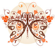 Floral butterfly. The butterfly made of a flower ornament Stock Image
