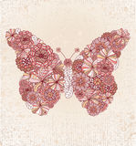 Floral Butterfly. Retro flowers make butterfly shape on textured background Stock Photography
