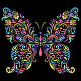 Floral butterfly  on black background Royalty Free Stock Photos