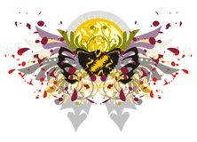 Floral butterfly with blood drops and decorative sun Stock Image
