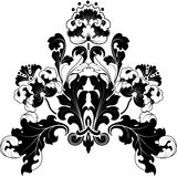 Floral BW. Floral designs in antique style. Black and white illustration. Can be repainted any color Stock Images