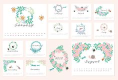 2018 floral calendar. 2018 Calendar with flower and animal design element Royalty Free Stock Photo