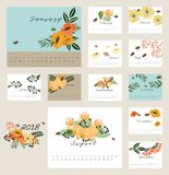 2018 floral calendar. 2018 Calendar with flower decoration design element Royalty Free Stock Image