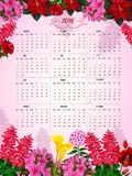 Floral calendar 2018 of flowers vector design. Flower calendar template of spring or summer flowers. Vector design monthly calendar in floral frame of roses Royalty Free Stock Photos