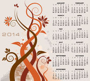 Floral 2014 calendar. Illustration of decorative floral 2014 calendar Stock Photos